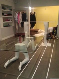 Tables made from mannequin legs for Opening Ceremony store in Los Angeles - - AHB İNŞAAT DEKOR- Weird Furniture, Furniture Legs, Unique Furniture, Furniture Decor, Painted Furniture, Furniture Design, Furniture Movers, Furniture Online, Home Room Design