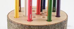 Drewniany stojak na kredki :)