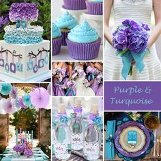 "Purple and Turquoise is one of those color combinations that makes us want to say ""wow""! It works for weddings all year long but especially in spring and summer."