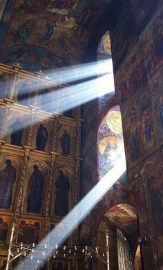 Sun light in Dormition cathedral of Trinity-St. Sergius' Lavra