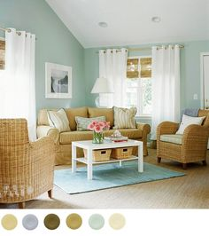 Color Palate ::: Sea Glass Colored Walls, Crisp White Curtains, Bamboo Blinds &&& Seagrass Arm Chairs