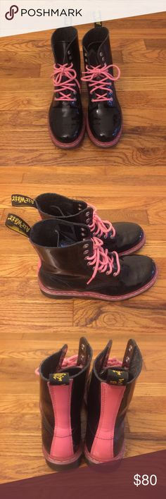 Dr. Martens Boots Dr. Martens 8-hole boots | black patent body with pink accent | size UK 6 = US 8 | never worn | small scratch on the right toe that is hardly visible unless carefully examined | no box Dr. Martens Shoes Combat & Moto Boots