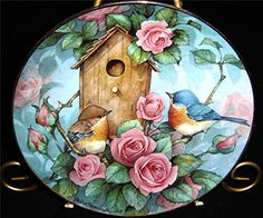 Carolyn Shores Wright Birds Settling In - Boxed by Franklin Mint Decoupage Vintage, Decoupage Paper, Fabric Painting, Painting & Drawing, Image 3d, Country Art, Bird Drawings, Bird Pictures, China Painting