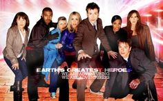 Left to Right- Sarah Jane, Mickey Smith, Jackie Tyler, Rose Tyler, The Doctor, Martha Jones,Captain Jack Harness and Donna Noble.