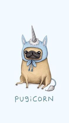 Because pugs are life and so are unicorns together they make life AMAZING Cute Dog Wallpaper, Tumblr Wallpaper, Black Wallpaper, Lock Screen Wallpaper Funny, Puppy Wallpaper Iphone, Wallpaper Art, Cute Drawings, Animal Drawings, Dog Illustration