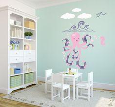 Olivia the Octopus Wall Decal Set  Pink and by WilsonGraphics