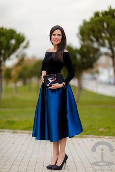 DIY Bolso de fiesta Party clutch Falda midi skirt Crimenes de la Moda