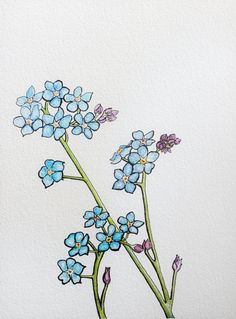 "Original Ink and Acrylic Drawing ""Forget Me Not"" by Allyson Kramer"