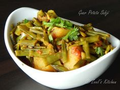 Guar or Indian cluster beans, is one of the green veggie that many people doesn't like much. This Guar Potato Sabji is for those who doesn't like this green veggie much. I have added potato to make it more tempting. Guar beans are thin flat pale green and about