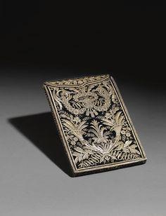 A VELVET BOOK CASE EMBROIDERED WITH SILVER-GILT THREAD, TURKEY, FIRST HALF 19TH CENTURY