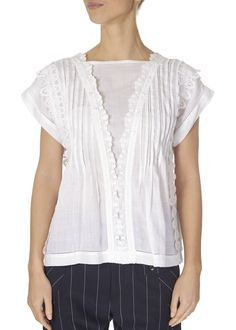 This is the 'Finesse' White Lace Cap Sleeve Top by our friends at HIGH Couture! Cap sleeve shirt in white ramie with wide V-shape. Cap Sleeve Top, Cap Sleeves, Black Ruffle, White Lace, White Tops, Tunic Tops, Graham, Clothes, Women's Tops