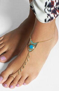 Orion Feather Linked Ankle Bracelet | Nordstrom