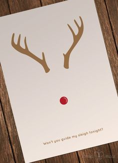 Rudolph Minimalist Folded 4x6 Cards 20 Pack by BonniMaceDesigns