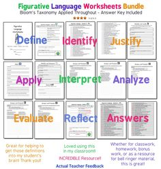 This 12 page bundle has everything I need to teach or re-teach figurative language. Bloom's taxonomy is applied throughout. Students move from lower-order thinking skills like defining figurative language, to higher order skills like analyzing and creating figurative language. I assign it two or three times throughout the year.  I use it as my emergency sub-plans, too.