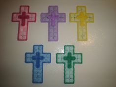 Handmade plastic canvas pastel easter crosses by CraftyAnnsCrafts