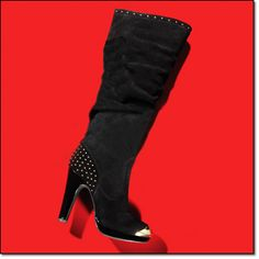 """new  mark. HIGH PERFORMER BOOT* • Genuine suede upper and with faux patent leather platform and heel and goldtone toecap and stud details • 1/2"""" platform, 4 1/2"""" heel Whole sizes: 6-10 (half sizes order up) magalog: $90.00"""