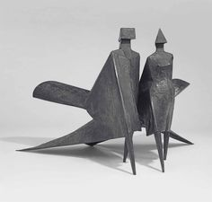 Lynn Chadwick (1914-2003) Maquette Jubilee II each stamped with initial, inscribed, numbered and dated 'C3 83 6/9' (on the underside of each figure) two figures--bronze male: 35 x 23 x 44 in. (88.9 x 58.4 x 111.8 cm.) female: 36 x 32 x 45 in. (91.4 x 81.3 x 114.3 cm.) (2)Executed in 1983. This work is number six from an edition of nine.