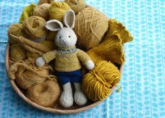 Mustard stuff bunny at little cotton rabbits Knitting Blogs, Baby Knitting, Knitting Patterns, Yarn Animals, Knitted Animals, Knitted Dolls, Crochet Toys, Knit Crochet, Crochet Fairy