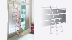 "MWE Akzent (""Ax-ent"") Telescoping ladder incorporates the sliding wheel design with a telescope feature which enables the ladder to be tucked between the floor and horizontal rail at a 90° angle for storage the wheels quietly slide on the 20mm (13/16"") diameter horizontal solid stainless steel rail. The standard rubber pivot base keeps the ladder in constant contact with the floor."