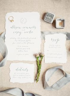 Calligraphy Wedding Invite with torn edges Design By: Studio W Designs www.studiowdesigns.com