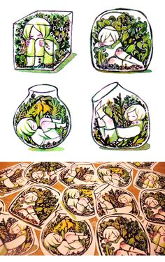 Terrarium stickers! Aren't they adorable? What a neat idea, too.