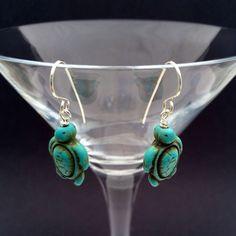 Magnesite Sea Turtles, magnesite earrings, hand made gemstone earrings - pinned by pin4etsy.com