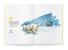 """""""Rosneft"""", Annual Report 2011 on Behance God bruk av illustrasjon i årsrapport"""