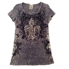 "Vocal Distressed Fleur De Lis Top Medium  Vocal Distressed Fleur De Lis Top Size Medium. Colors are Gray and Black. Material is 100% Cotton. Hand Wash Cold. Measurements laying flat: Bust 16.5"", Length 27.5"". Beautiful Fleur de Lis designs with rhinestones on front, sides and back. NO TRADES OR LOW BALL OFFERS Vocal Tops"