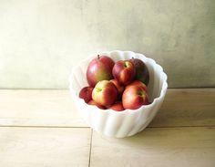 Mega Fruit Bowl  White Swirled Hazel Atlas 10 Inch by FoxberryHill, $24.95