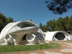 futuristic looking Space Age house was build in the early 1970's, on a hilltop and surrounded by vineyards in France