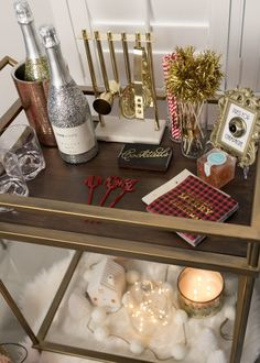 Holiday Bar Cart, Decor + Drinks - The Fancy Things