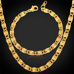 18K Real Gold Plated Necklace Set Men Jewelry Wholesale New Trendy Unique Link Chain Necklace Bracelet Jewelry Set For Men