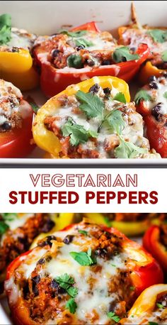 These cheesy easy Mexican-inspired vegetarian stuffed peppers are filled with healthy grains rice quinoa black beans and tons of flavor They are a perfect freezer meal and are great for meal prep Leave out the cheese for a vegan option Tasty Vegetarian Recipes, Vegetarian Recipes Dinner, Vegan Dinners, Vegetarian Grilling, Healthy Dinners, Best Vegan Meals, Veggie Meat Recipes, Easy Vegetarian Stuffed Peppers, Vegetarian Thanksgiving Main Dish