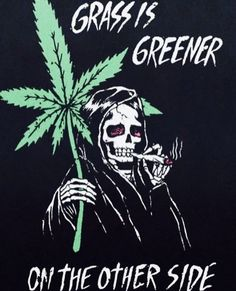 "grayarray:I have this picture above as the background for the lock-screen on my phone. I was at El Palenque today when the waiter, Alfredo, picks up my phone and unlocks it. He instantly smiles and say, ""You like the ah pot, eh? Weed Wallpaper, Skull Wallpaper, Marijuana Wallpaper, Arte Dope, Dope Art, Dope Kunst, Drugs Art, Marijuana Art, Stoner Art"