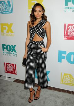 Ashley Madekwe in the most pinnable cut-out jumpsuit we ever did see. Did we mention the gingham? ❤