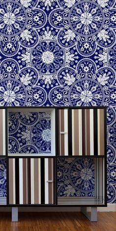 Bloemfontein surface pattern from Quagga Fabrics & Wallpapers on wallpaper behind bedroom storage unit. Home Wallpaper, Fabric Wallpaper, Surface Pattern Design, Bedroom Storage, Valance Curtains, Fabrics, Walls, Wallpapers, Homes