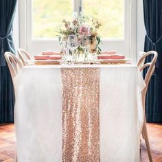"""Rose Gold Sequin table runner. Beautiful for all! Fantastic for any wedding, event, or home decor. These beautiful sequin table runners shimmer with delight! Table runner is 12.2"""" wide by 108"""" long. F"""