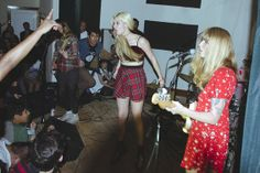 Melissa Brooks of The Aquadolls crowd surfing with Vivian Girls - PHOTO BY LEONARD DRORIAN