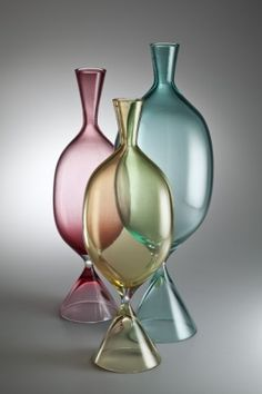 Lino Tagliapietra (Vetreria Ferro Galliano), Vases in transparent glass, Blown glass, obtained by constriction during manufacture. Murano Glass, Fused Glass, Stained Glass, Bottle Vase, Glass Bottles, Perfume Bottles, Art Of Glass, My Glass, Modern Glass