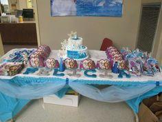 Frozen inspired cake table