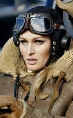 Ursula Andress in her aviator jacket~ Love it~