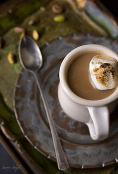 Pistachio and Cardamom Hot Chocolate
