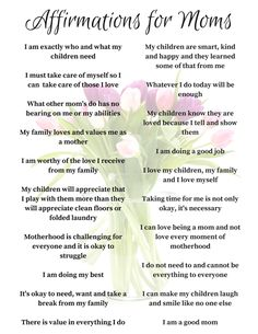 20 positive affirmations for moms