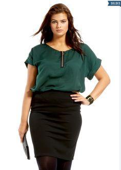 Voilà une jupe crayon grande taille, parfaite pour le bureau! 20€ seulement, disponible en tailes 44/46 à 50/52 #ronde #grandetaille