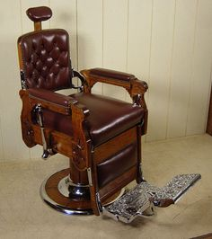 Koken Oak Barber Chair Barber Shop Chairs, Barber Shop Decor, Plumbing Pipe Furniture, Plumbing Tools, Barber Chair Vintage, Barbershop Design, Barbershop Ideas, Fries, Safety Razor