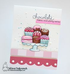 Chocolates on treat Stand | Card by Tatiana Trafimovich | Love & Chocolate stamp set by Newton's Nook Designs #newtonsnook