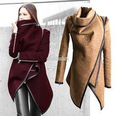 Hot!Women Fashion Wool Winter Long Jacket Trench Coat Outwear Windbreaker EFFU