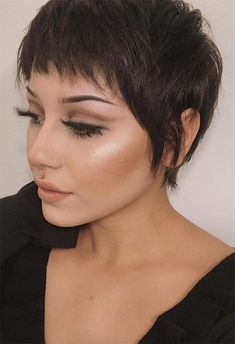 Pixie haircuts are an adorable yet sexy take on short hair for women, and while they borrow some elements from men's haircuts, they are wholly feminine. In recent years, celebrities like Emma Wat Pixie Haircut For Thick Hair, Longer Pixie Haircut, Long Pixie Hairstyles, Short Pixie Haircuts, Short Hairstyles For Women, Punk Pixie Haircut, Shaggy Pixie Cuts, Hairstyles Haircuts, Long Pixie Cut With Bangs