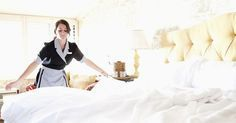 Cleaning Secrets of Hotel Maids - Professional House Cleaning Tips / Some of the rooms I've seen were definitely not cleaned like this but it's good to know. Hotel Cleaning, Cleaning Maid, House Cleaning Tips, Cleaning Hacks, Cleaning Crew, Cleaning Services, Professional House Cleaning, Good Housekeeping, Hotel Housekeeping Tips