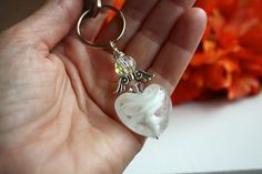 Angel Keyring, White Beaded Key Chain, Bridesmaid Gift, Murano Glass Heart, Silver Winged Angel, Swarvoski Crystal Holder Key Ring